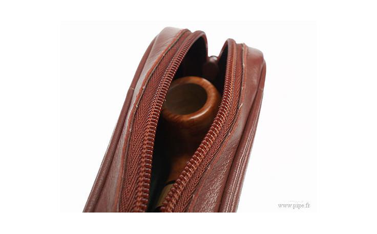 Pochette pour pipe en cuir cognac