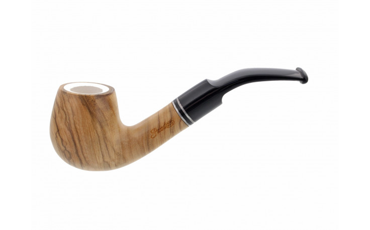 Bent oak pipe with a meerschaum inside bowl