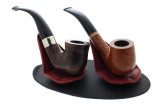 Burgundy and black tabletop pipe stand for 2 pipes by Claudio Albieri