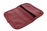 Burgundy and black leather tobacco pouch by Claudio ALBIERI