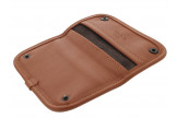 Beige and brown leather tobacco pouch by Claudio ALBIERI