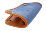 Blue and orange leather tobacco pouch by Claudio ALBIERI