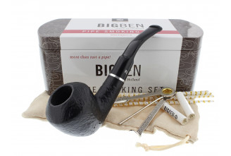 Big Ben smoking set with a sandblasted half-bent pipe