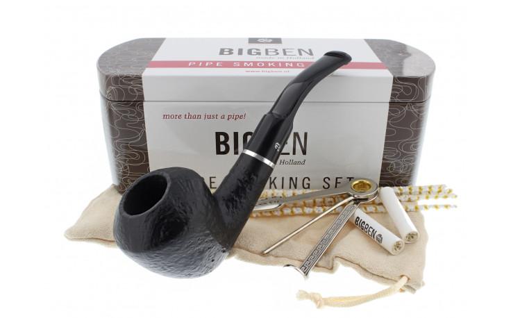 Big Ben smoking set with a sandblasted half-bent pipe