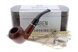 Big Ben smoking set with a lacquered half-bent pipe