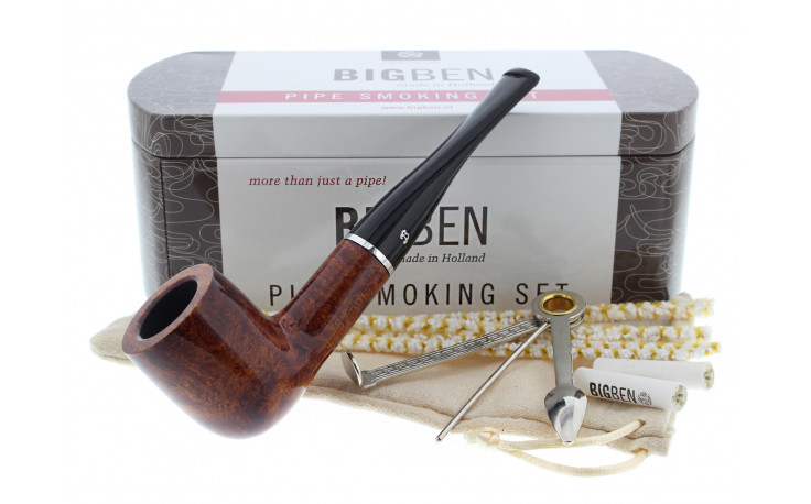 Big Ben smoking set with a lacquered straight pipe