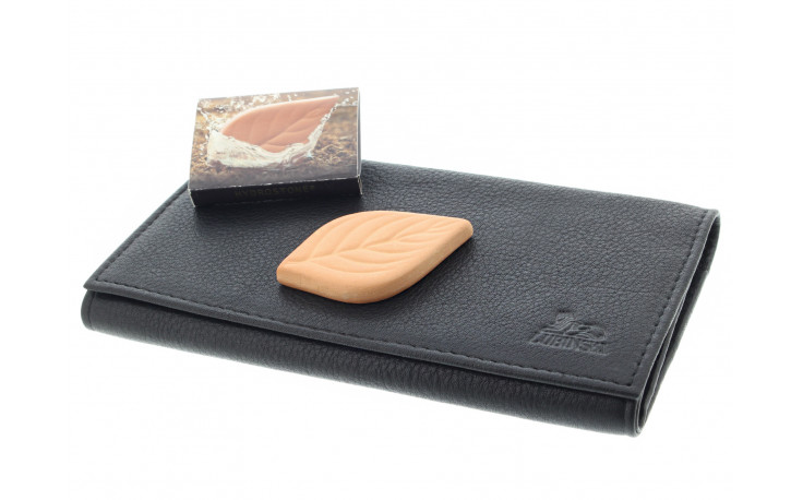 Leather roll up pouch I755 Black