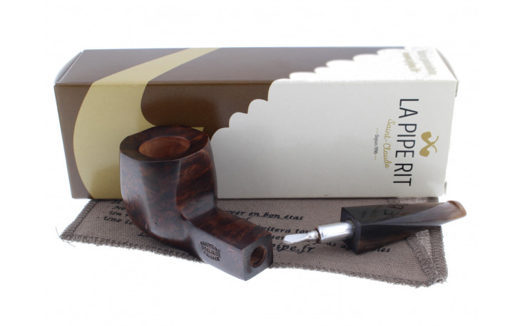 Cheap smoking pipe (horn mouthpiece, squared shape)