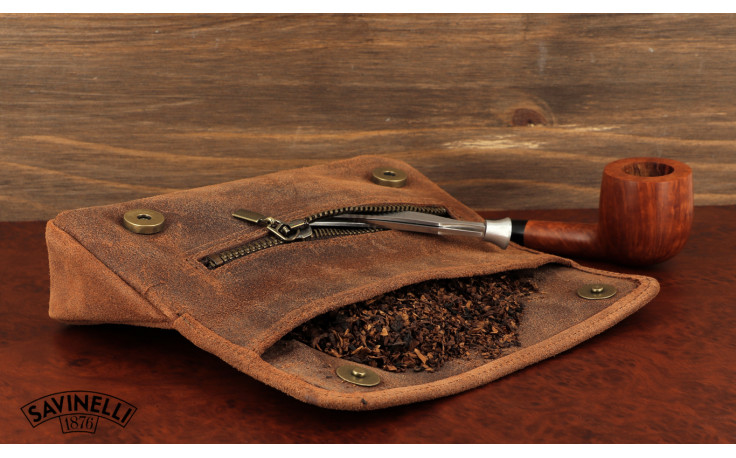 Savinelli tobacco pouch Vintage Cognac
