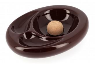 Ceramic ashtray for 2 pipes (white craquele)