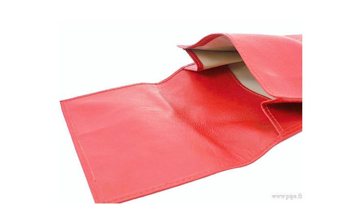Blague à tabac Chacom en cuir rouge cc0011